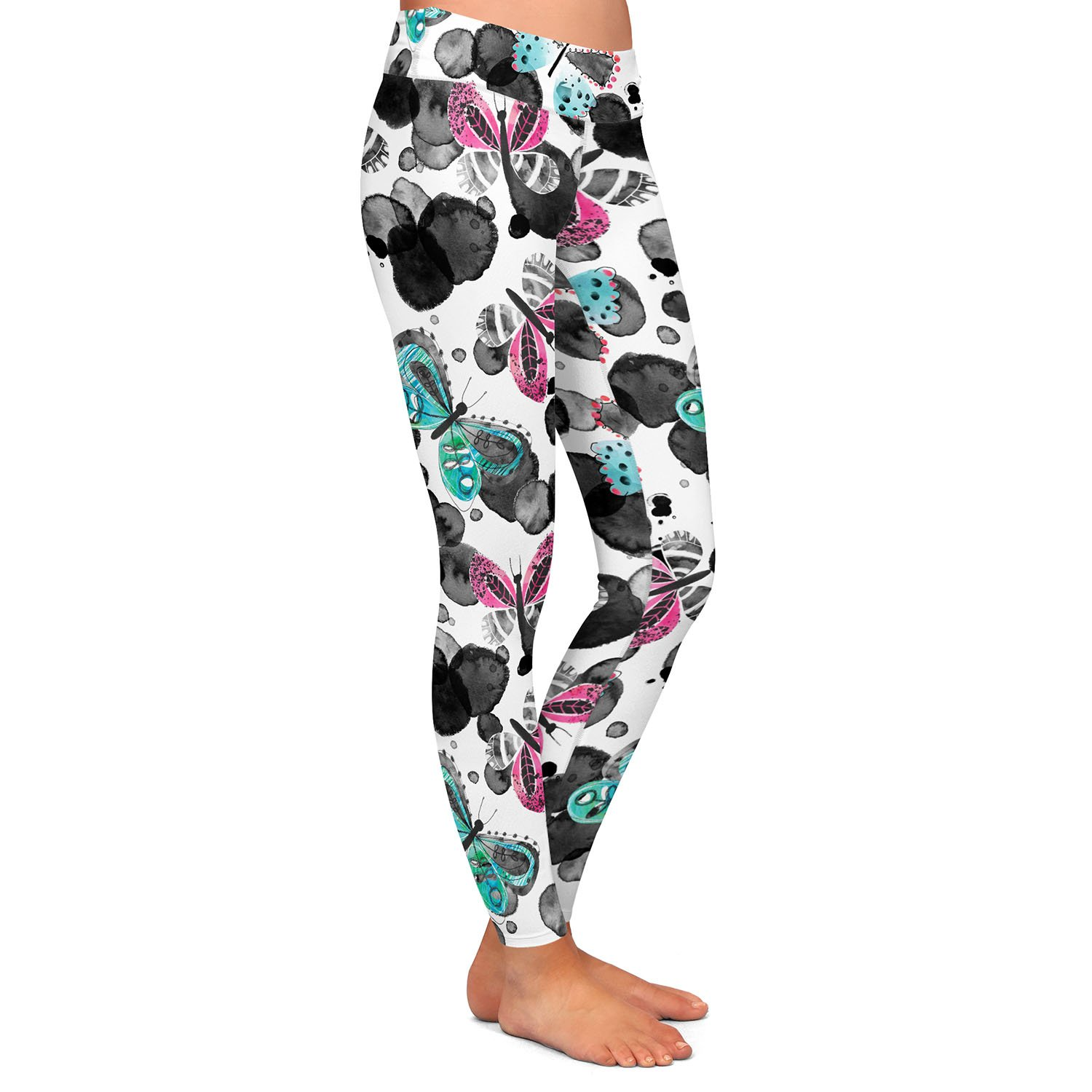 Athletic Yoga Leggings from DiaNoche Designs by Zara Martina Inky Butterflies