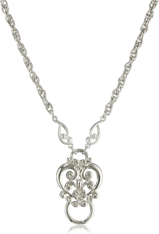 "1928 Jewelry Silver-Tone Heart Eyeglass Holder Pendant Necklace, 28"""