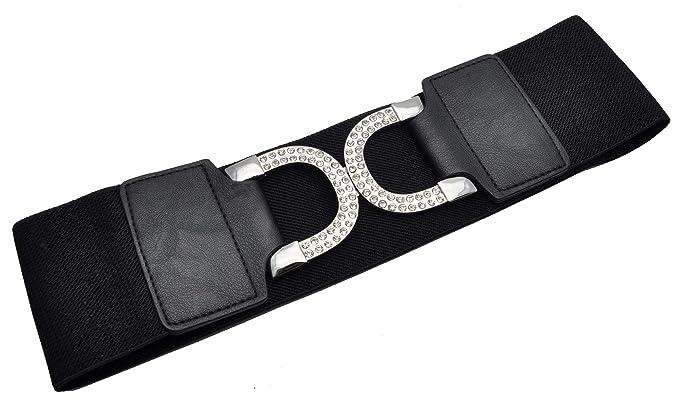 Damen Breiter Gürtel Stretchgürtel Hüftgürtel Taillengürtel mit Metallschnalle