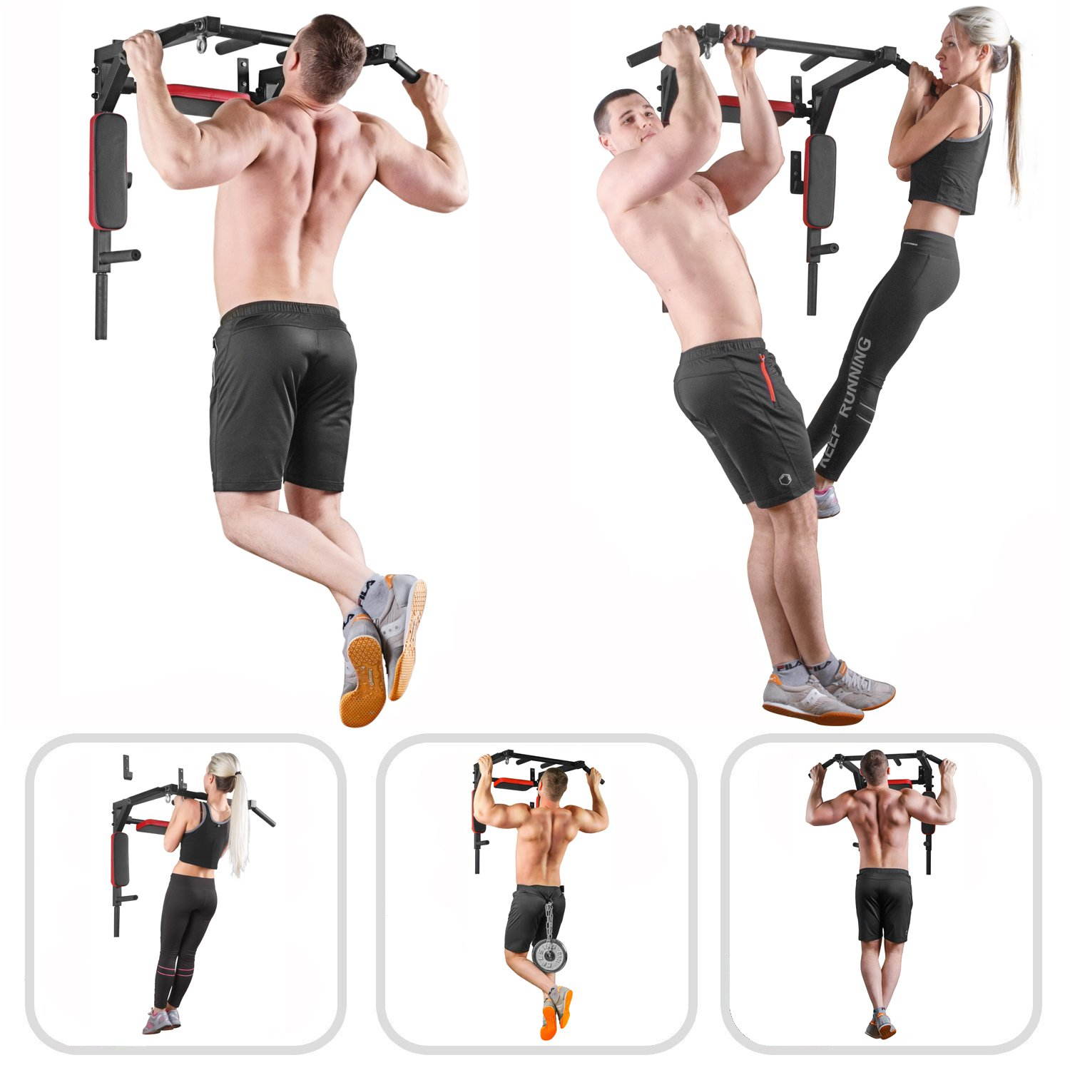 Wall Mounted Pull Up Bar - Pullup Bar Wall Mount - Chin Up Bar - Pull Up Bars and Dip Bar - Pullup and Dip Bar - Dip Station Pull Bar - Pullup Bars Outdoor and Home Room or Garage Gym Multi Grip - Pul by BAR2FIT QUALITY SPORTS EQUIPMENT (Image #3)
