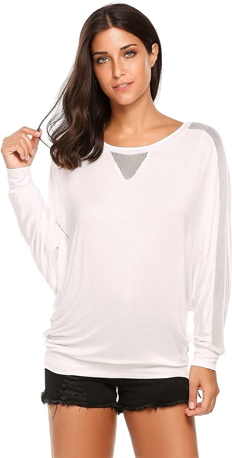 HOTLOOX Womens Batwing Sleeve Blouse Autumn Loose Fit Casual Tunic Mesh Patchwork Boat Neck Pullover Tops