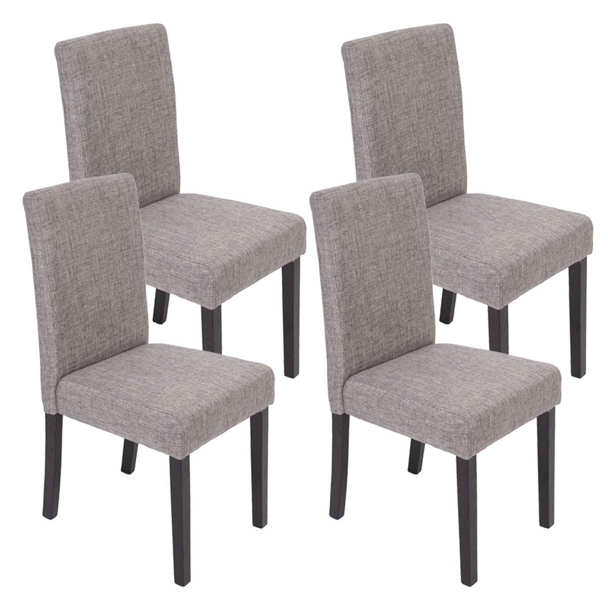 mendler lot de 4 chaises de sjour littau tissu gris pieds foncs amazonfr cuisine maison - Chaise En Tissu Gris