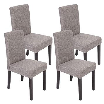 Set 4x sedie Littau tessuto per sala da pranzo 43x48x90cm ~ grigio ...