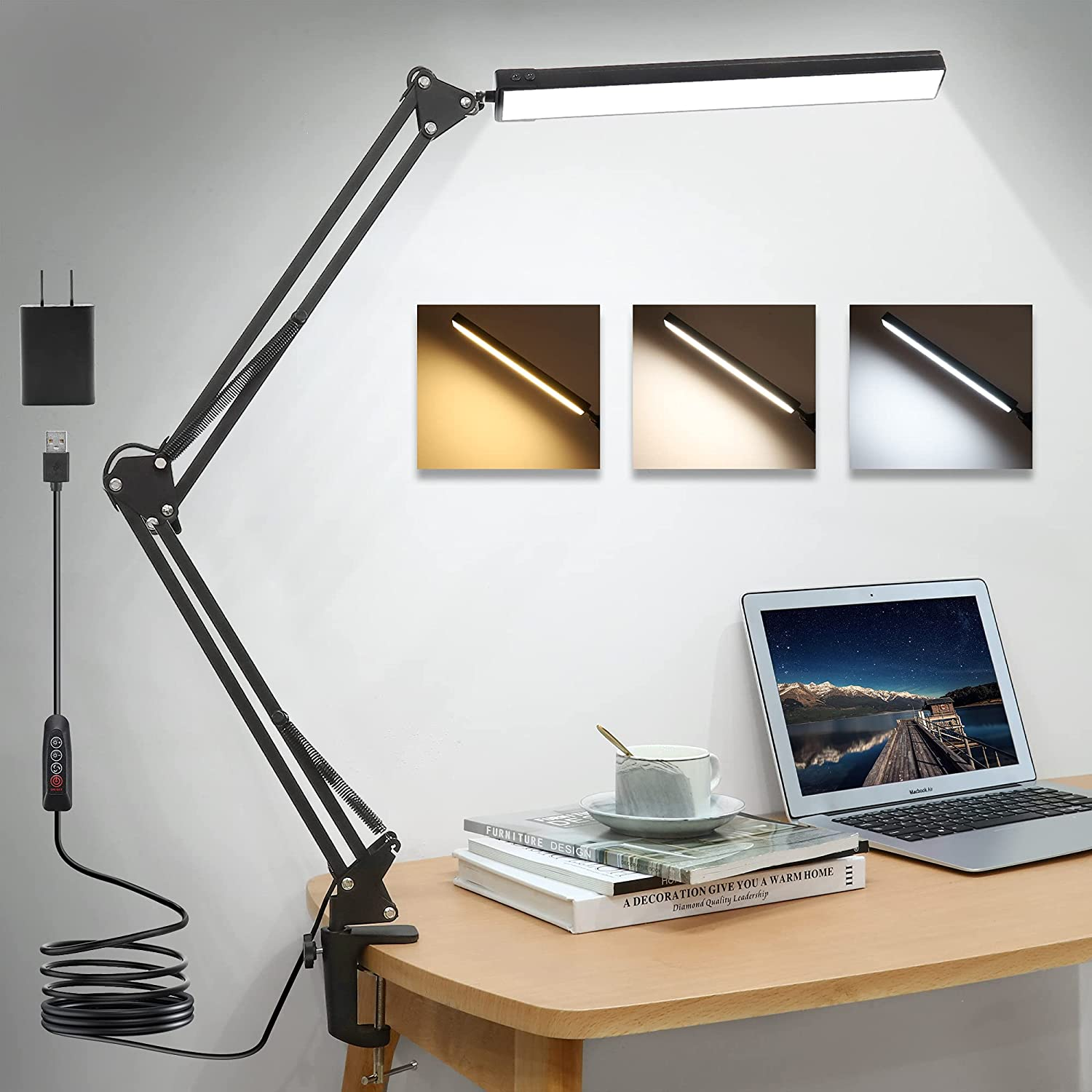 Desk Lamp for Home Office, PESIVI Eye-Caring LED Stepless Dimmable Architect Table Light, Memory Function Adjustable Swing Arm Clamp Lamp with 3 Color Modes for Drawing Craft Study, Includes Adapter
