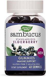 Nature's Way Sambucus Elderberry Gummies with Vitamin C and Zinc, Gluten Free, 40 Gummies