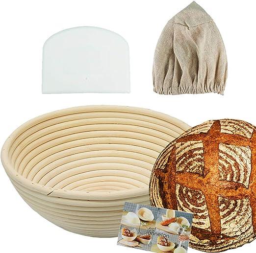 /& Bread Making for Home Bakers Sourdough Recipe Forsun 1pcs 8.5 Round Banneton Brotform Bread Dough Proofing Rising Rattan Basket /& Liner,Banneton Proofing Basket Set