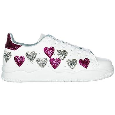 213367a717ad5 CHIARA FERRAGNI Sneakers White Hearts FX Silver 3 CF2070-A Nuova Collezione  A