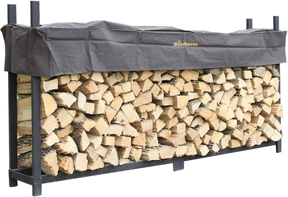 Woodhaven The Brown 10 Foot Firewood Log Rack with Cover