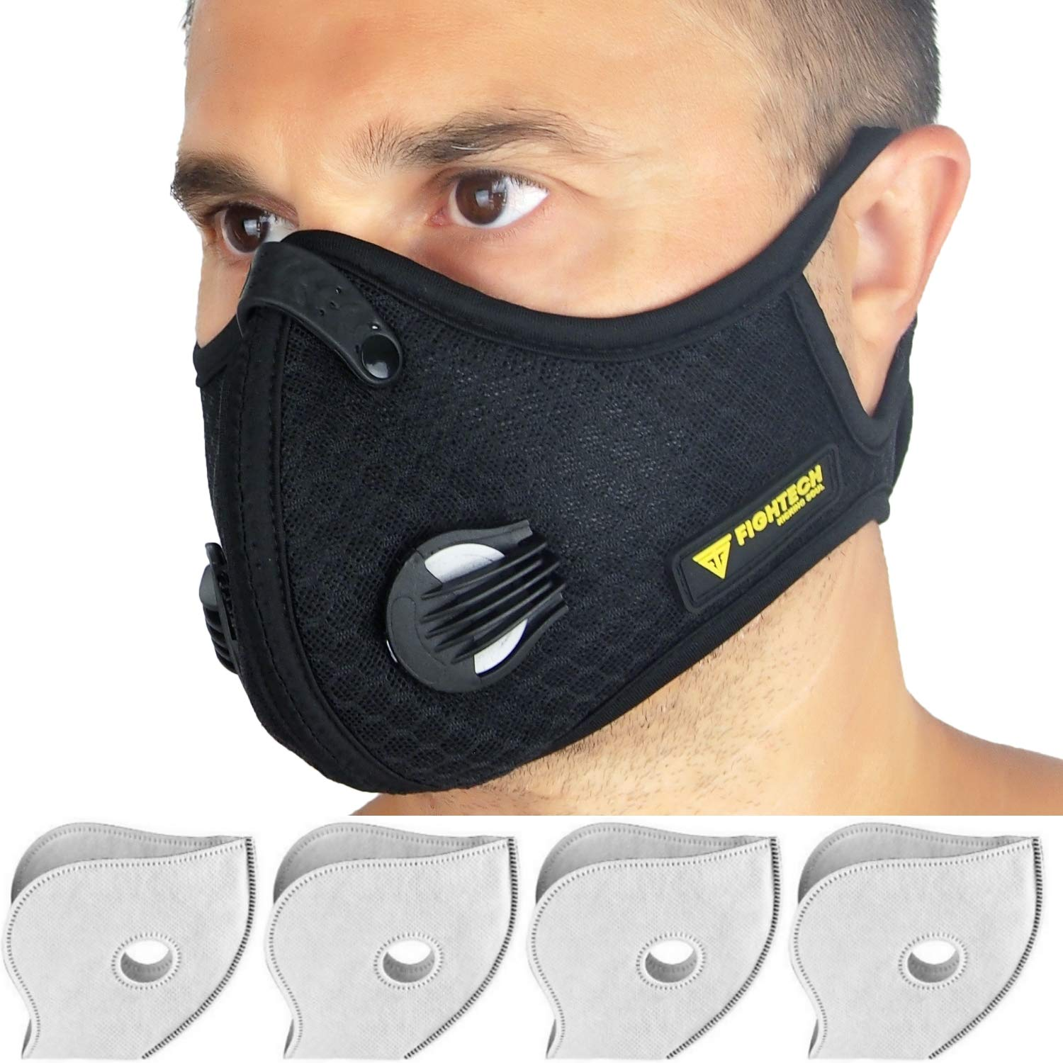 Dust Mask by Fightech | Mouth Mask Respirator with 4 Carbon N99 Filters for Pollution Pollen Allergy Woodworking Mowing Running | Washable and Reusable Mesh (Black Mesh) by FIGHTECH