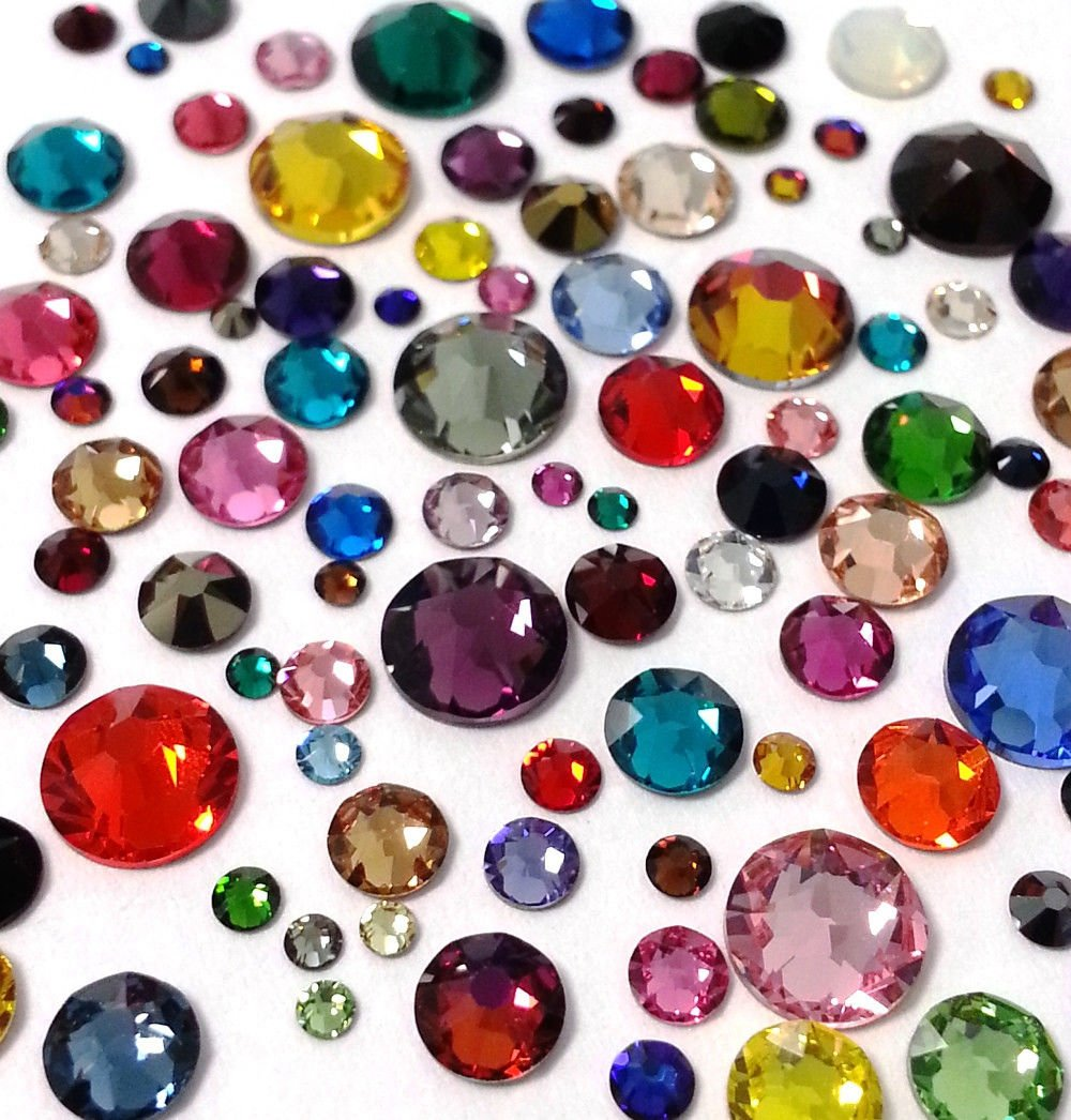 HOTFIX Swarovski Assorted Mix Colors 144 Pieces 2038/2078 Crystal Flatbacks Rhinestones Mixed with Sizes ss6, ss10, ss12, ss16, ss20, ss30 4337032448