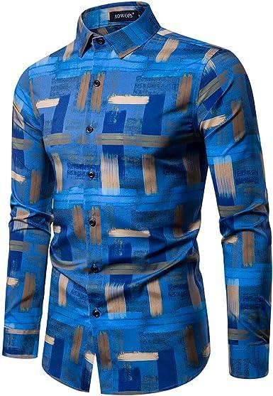 CLOOM Camisa de Vestir para Hombre Camisas de Estampada Funky de Manga Larga de Botón Blusa Casual Elegante Shirt Caballero Tops Patrón único,para Negocios/Trabajo/Fiesta de Baile: Amazon.es: Ropa y accesorios