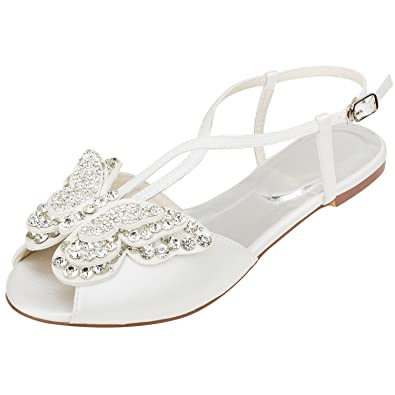 official images new products new release Emily Bridal Ivory Wedding Shoes Silk Peep Toe Butterfly Rhinestones Beaded  Flat Sandals