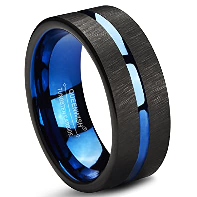 Queenwish 8mm Infinity Tungsten Wedding Band Blue Black Line Brushed  Couples Ring with Jewelry Box