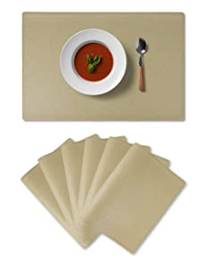 Alpiriral Placemats Heat Resistant Place Mats Set of 6 Easy Wipe PlaceMats for Kitchen Table in Golden Beige