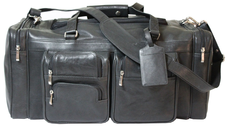 Viosi Malibu 20 Inch Genuine Leather Duffel Travel Bag Sports Gym Bag Weekender Overnight Luggage [Black]