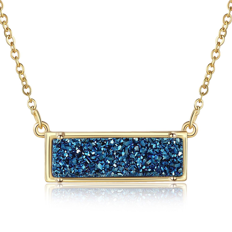 Ellena Rose Minimalist Druzy Necklace, 100% Natural Druzy, 14K Gold Plated Horizontal Bar Druzy Necklaces for Women, Genuine Druzy Jewelry, Druzy Bar Necklace