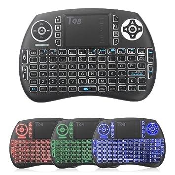 QcoQce Mini teclado inalámbrico T98 QWERTY(tiene Ñ)con touchpad 92 teclas y batería