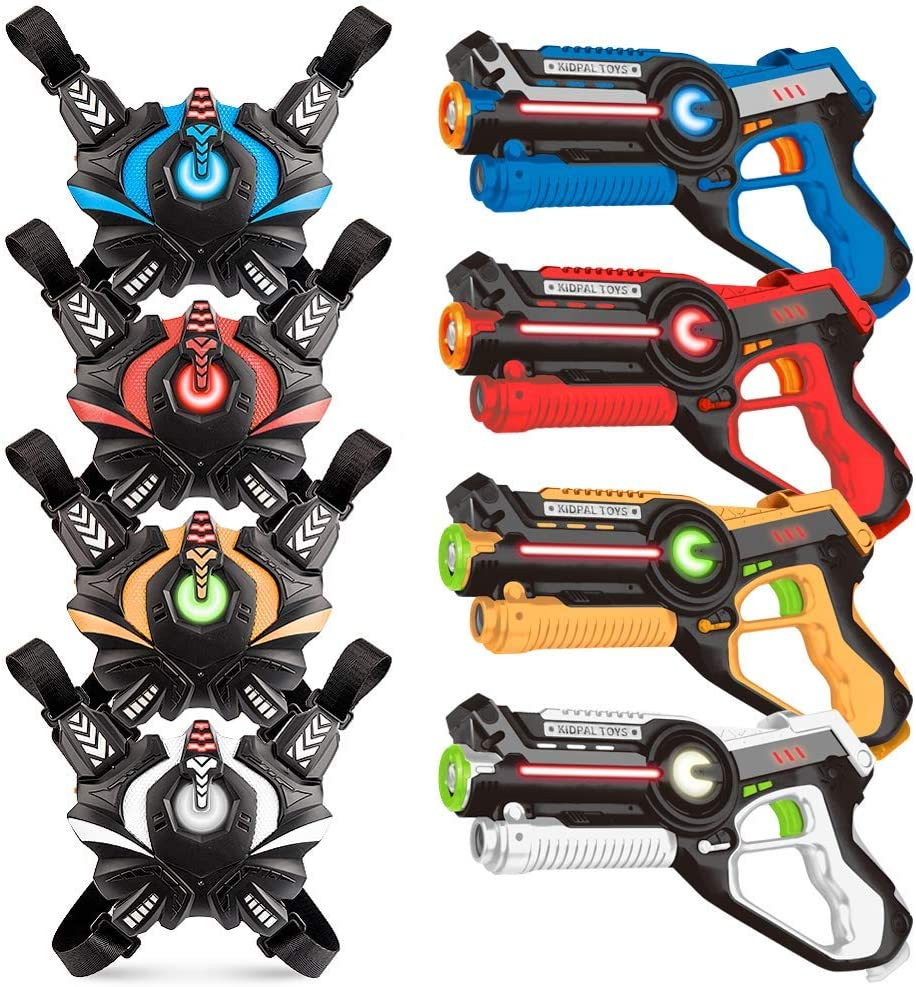 Laser Tag Sets, Kidpal Laser Tag Guns Set of 4 with Vest for Boys & Girls Age 8 9 10 11 12, Lazer/Laser Tag Game for Family, Infrared Laser for Multi Player Teenager Kids and Adult Backyard & Outdoor