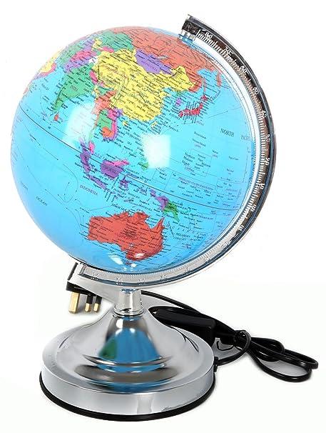 Decorative Light Up Led World Globe Lantern With Silver Stand Cm