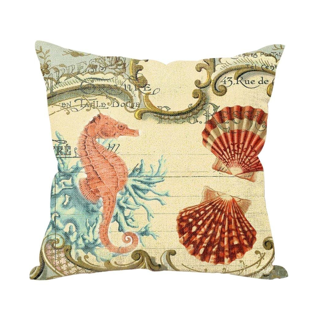 Sea Horse Starfish Throw Pillo...