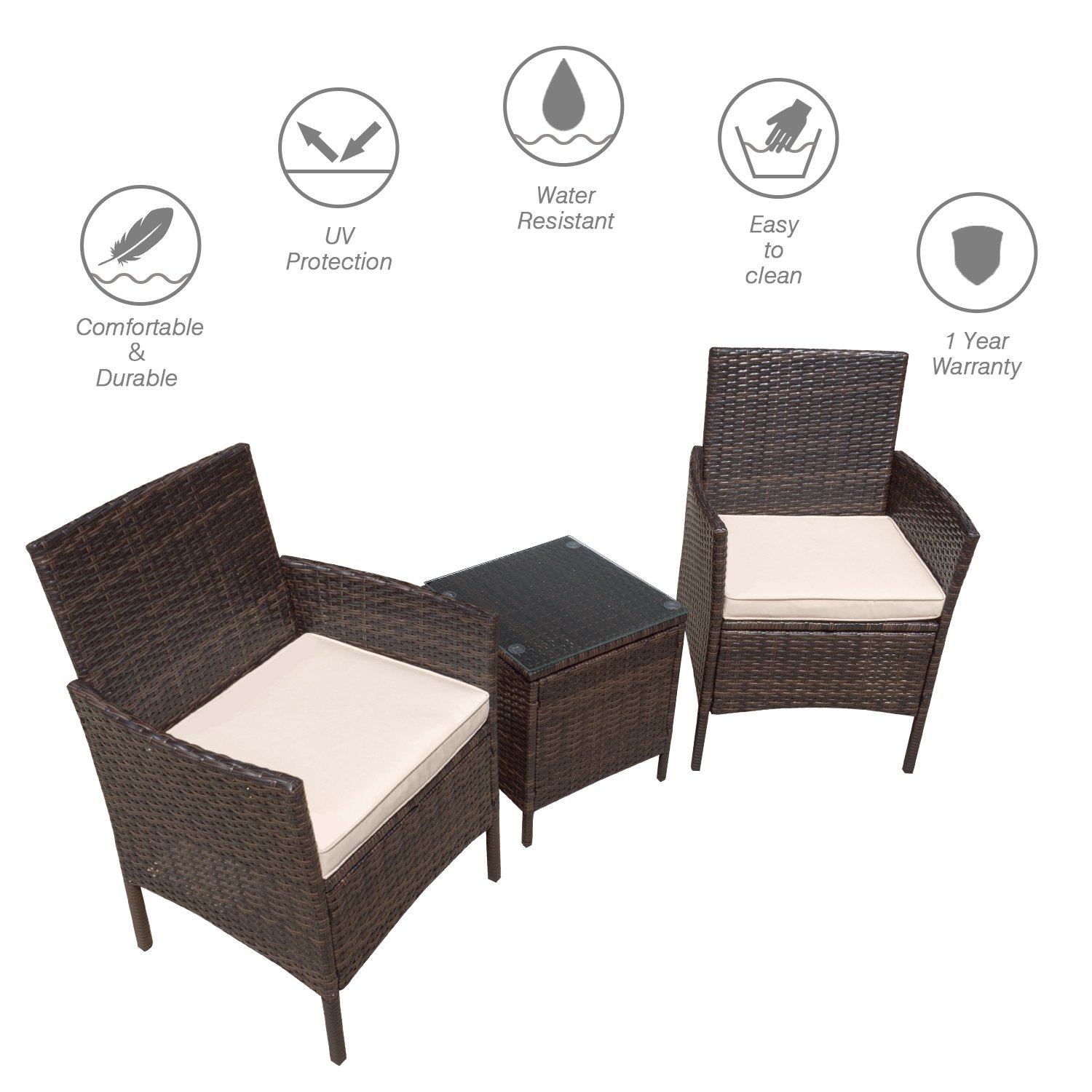Flamaker 3 Pieces Patio Furniture Set Modern Outdoor Furniture Sets Clearance Cushioned PE Wicker Bistro Set Rattan Chair Conversation Sets with Coffee Table (Brown Wicker) by Flamaker (Image #2)