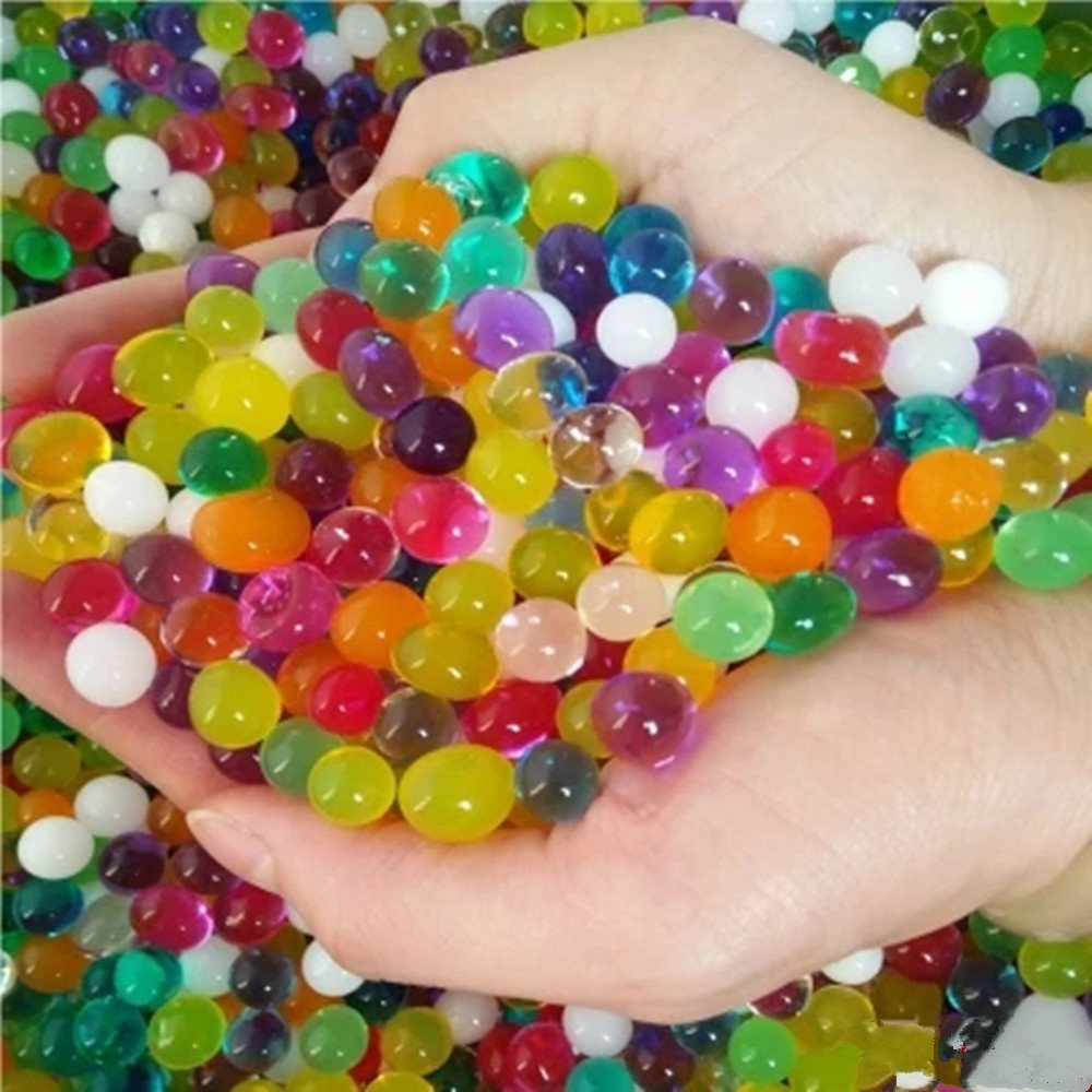 Water Beads Rainbow Mix Kids Water Gel Beads DIY Gift Idea, Vase Filler , Grow Plants , Relaxing Squishy Beads Spa Sensory Toys and Décor(6 pack)