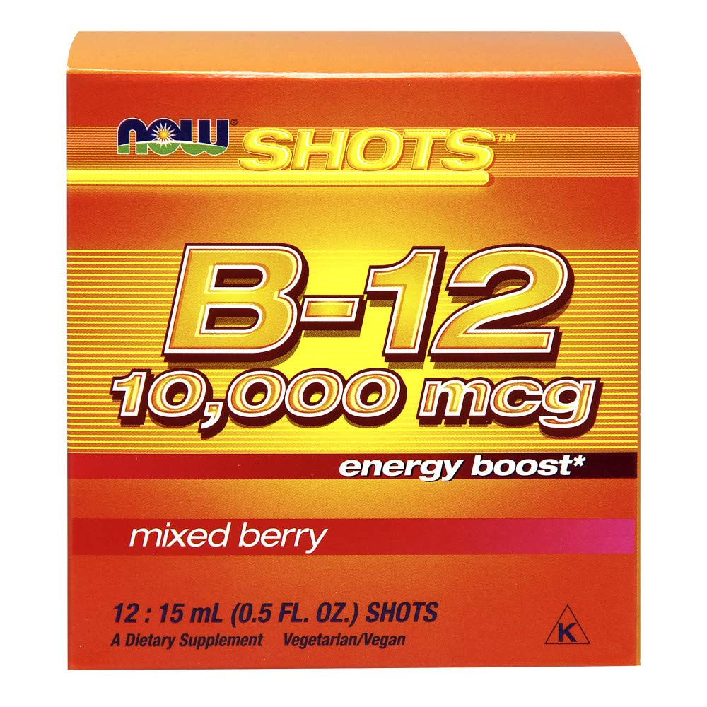 NOW Foods B-12 10,000mcg Shots 0 5 ounce 12 Count Box Mixed Berry