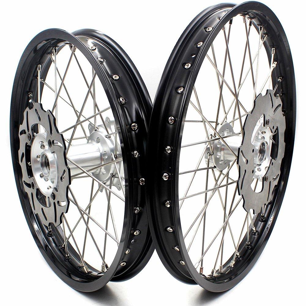 KKE HONDA MX COMPLETE WHEELS RIM SET 21/19 CRF450R 02-12 CRF250R 04-13 Silver Hub With Disc And Sprocket