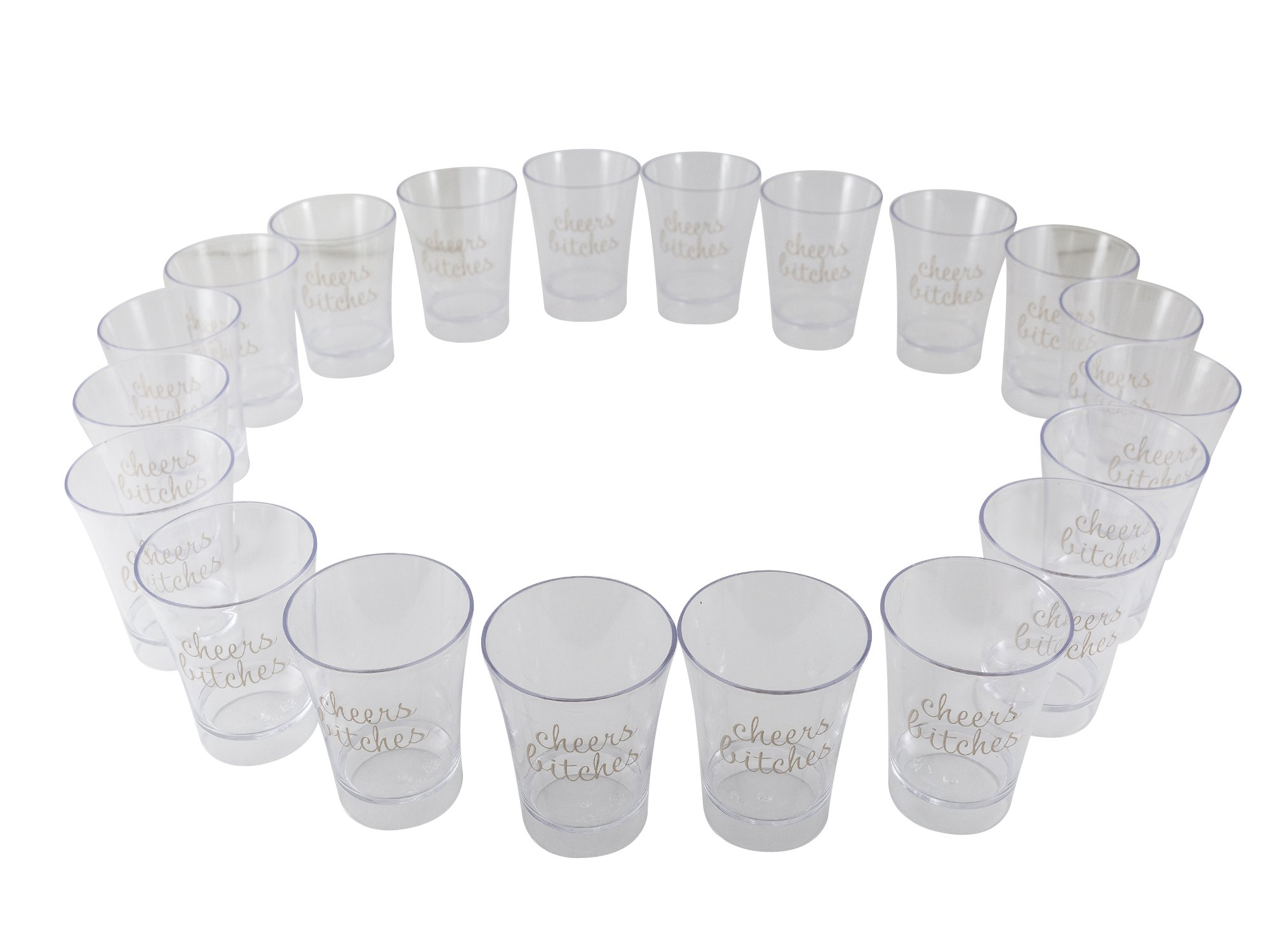 Party Shot Glasses for Bachelorettes and Birthdays, Cheers Bitches 2 oz Plastic Shooters (20 Pack)