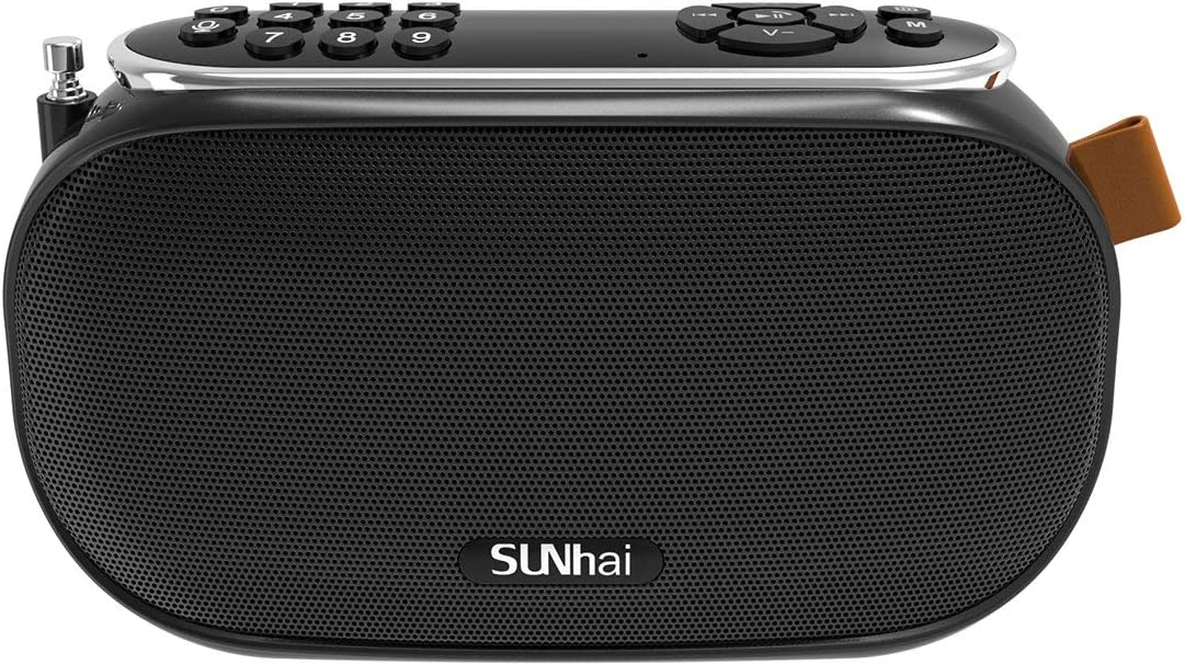 JIBEILA J19 Portable Wireless Bluetooth Speaker with HD Sound, Wireless Stereo, FM Radio, TF, USB Charge, AUX Input,Built-in Microphone, Support Hands-Free Call for Home,Outdoor,Travel-Black