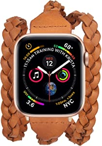 V-MORO Leather Wrap Bracelet Compatible with Apple Watch 42mm 44mm Bands Women, Handmade Weave Leather Wristband Replacement Straps for Apple iWatch Series 5/4/3/2/1(Brown 42mm/44mm)