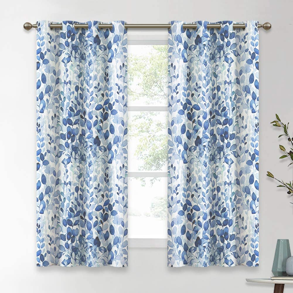 KGORGE Natural Inspired Leaf Pattern Curtains, Countryside Rural Series for Living Room Decor/Kitchen/Home Office Thermal Insulated, W 52 x L 63 inch, 2 Panels, Ocean Blue