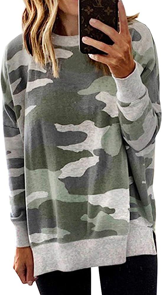 2019 UK Womens Sweatshort Ladies Fitted Leopard Tee Blouse Camo Tops Long Sleeve