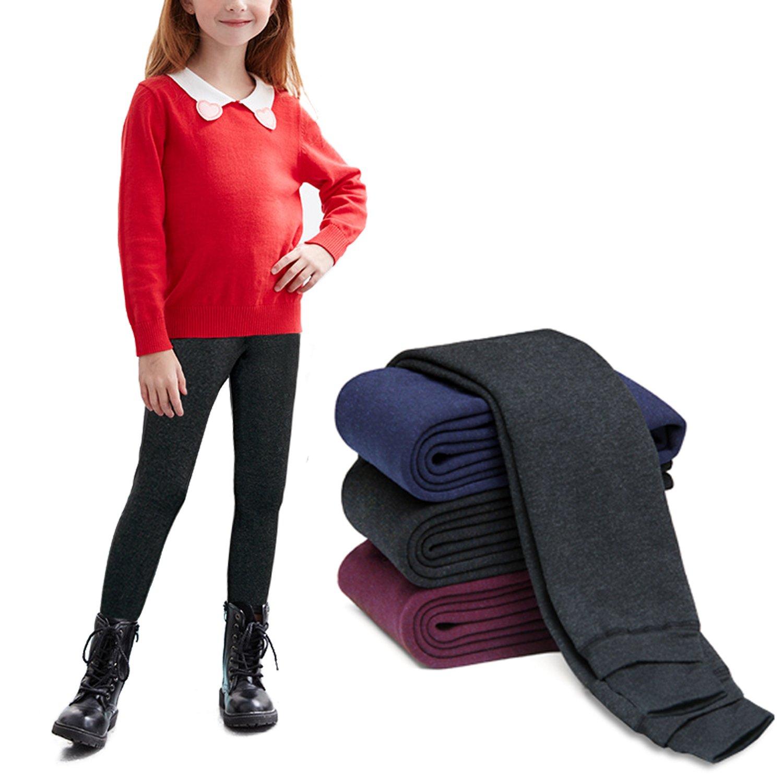 DCOIKO Girls Leggings Velvet Elastic Trouser Warm Thick Winter Leggings Pants For Children (S,Navy)