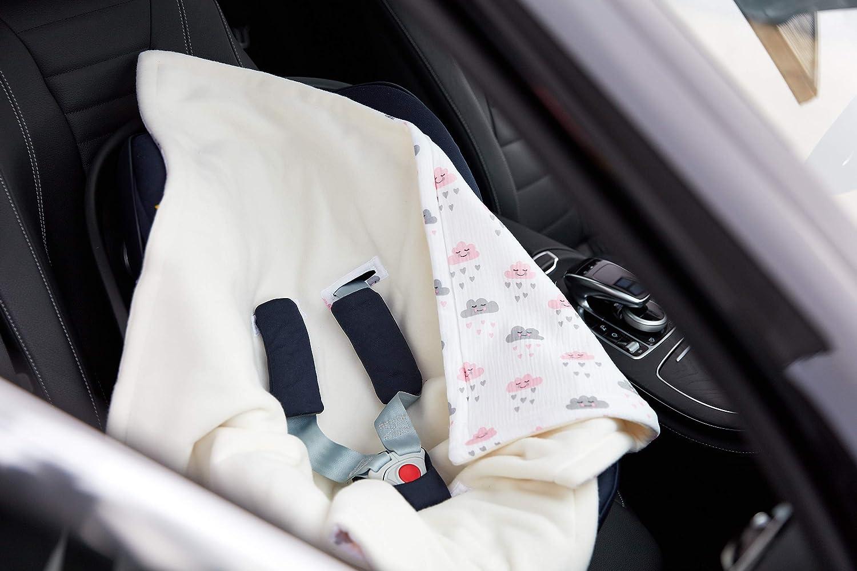 KraftKids Einschlagdecke f/ür Babyschale in Chevron grau flauschig warme Fleece-Decke 75 x 75 cm gro/ße Baby-Decke