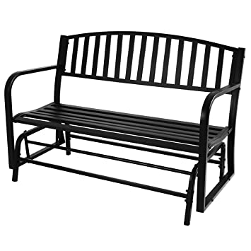 belleze 50inch outdoor patio glider bench rocker swing loveseat seat steel frame black - Glider Bench