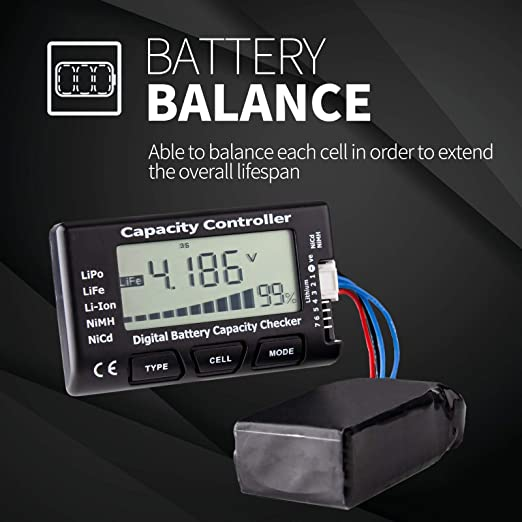 Digital Battery Capacity Tester 1-8S Lipo Battery Capacity Voltage Checker Controller Tester with LCD for LiPo LiFe Li-ion NiMH Battery