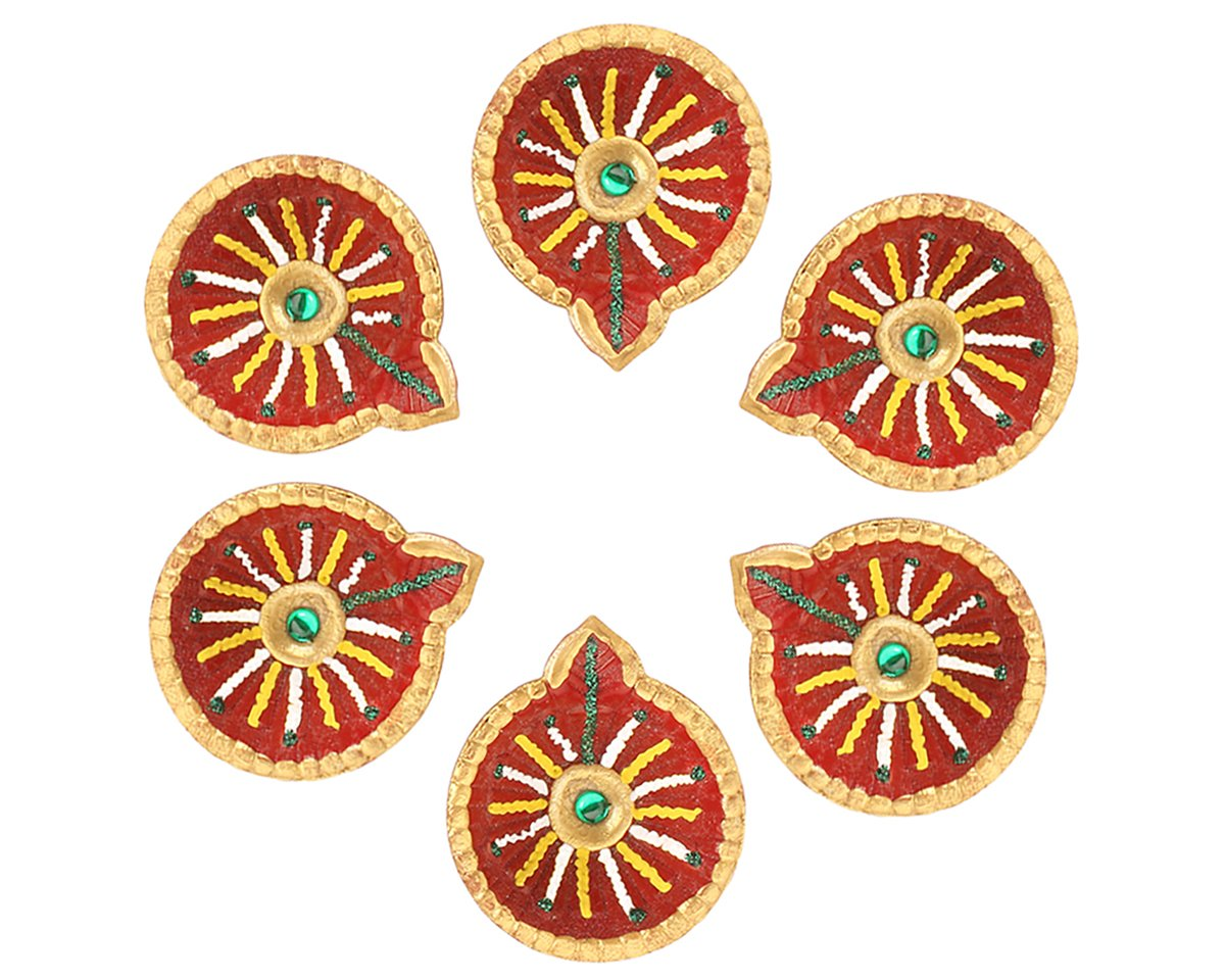 Set of 6 Handmade Decorative Diwali Clay Diyas For Diwali Decorations Terracotta Earthen Clay Oil Lamps Diwali Gifts
