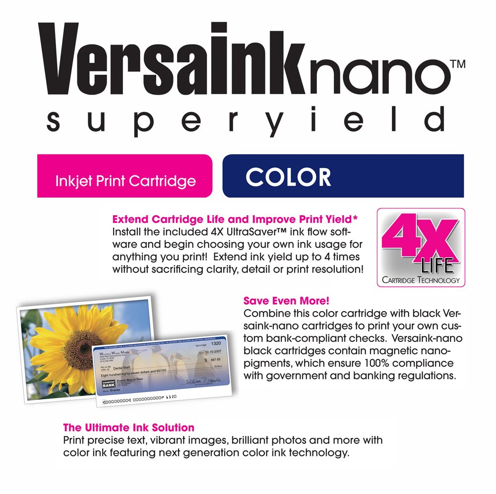 Amazon VersaInk Nano HP 63 MS Black MICR Ink Cartridge For Check Printing CS Color Office Products