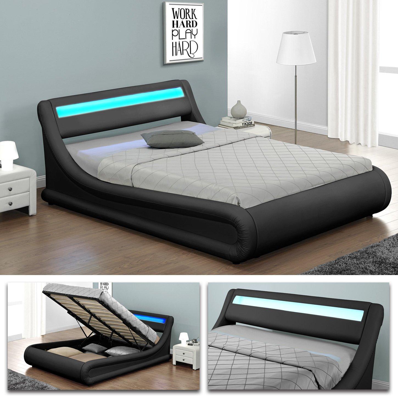 VIRGINIA Schwarz Doppelbett LED Polsterbett Gasdruckfeder Bett ...