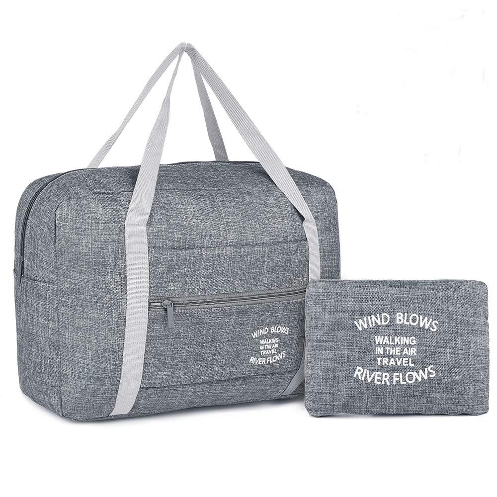 Wandf Foldable Travel Duffel Bag Luggage Sports Gym Water Resistant Nylon (Light Gray)