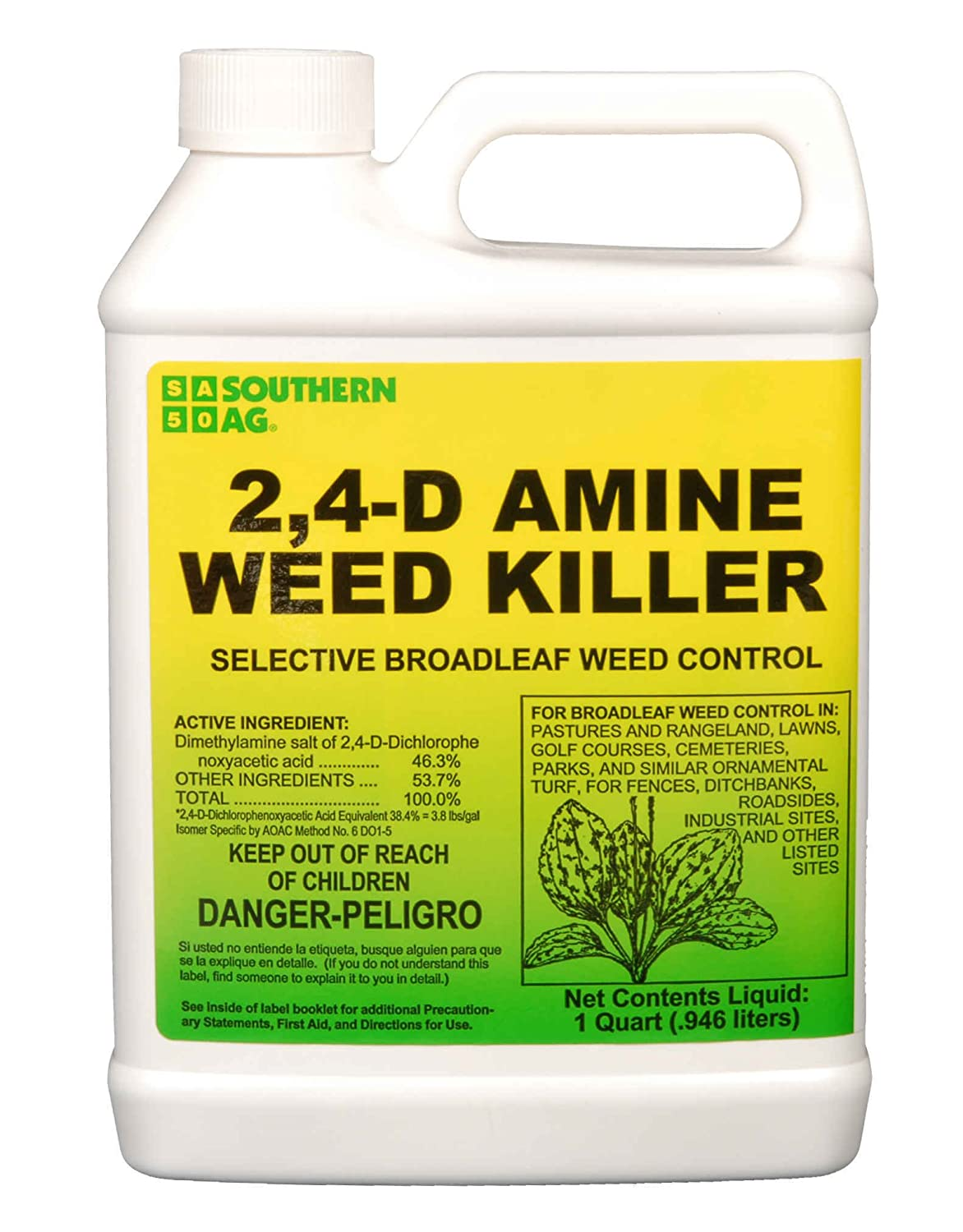Southern Ag 2,4-D Amine Weed Killer Selective Broadleaf Weed Control spray for lawns