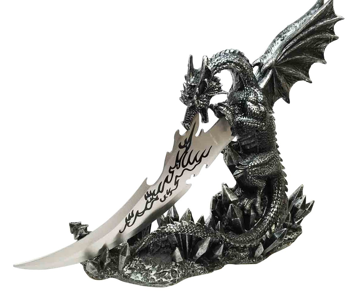 Ebros Medieval Dreamwork Fantasy Dragon Fire Breath Dagger Letter Opener Knife with Base Holder Statue Home Office Decor Figurine Dungeons and Dragons GOT Obsidian Blade