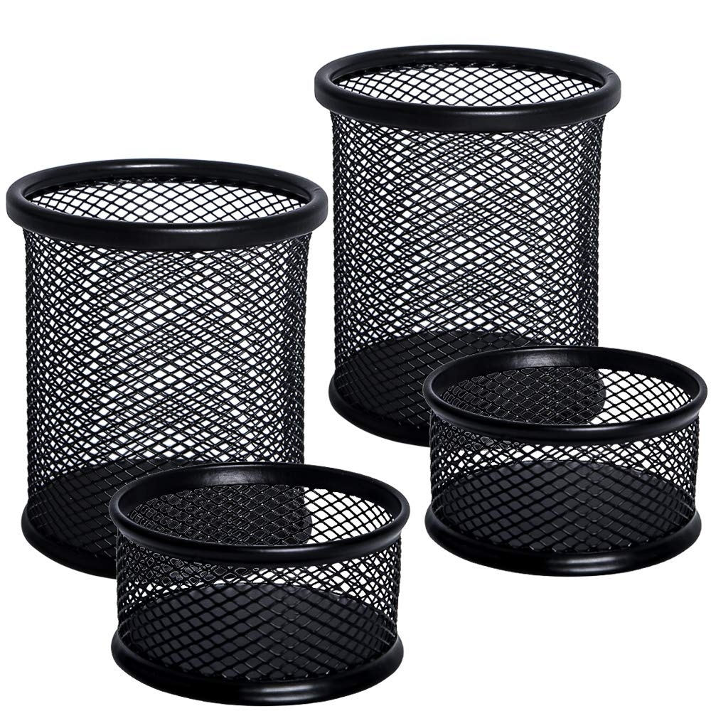 JPSOR 4 Packs Pencil Pen and Paper Clip Holder, Mesh Metal Black Pen Pencil Cups Paper Clips Organizer for Desk Office and School by JPSOR