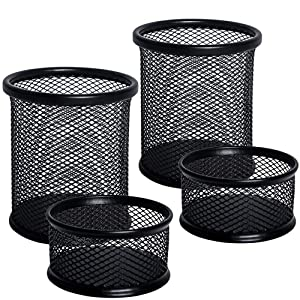 JPSOR 4 Packs Pencil Pen and Paper Clip Holder, Mesh Metal Black Pen Pencil Cups Paper Clips Organizer for Desk Office and School