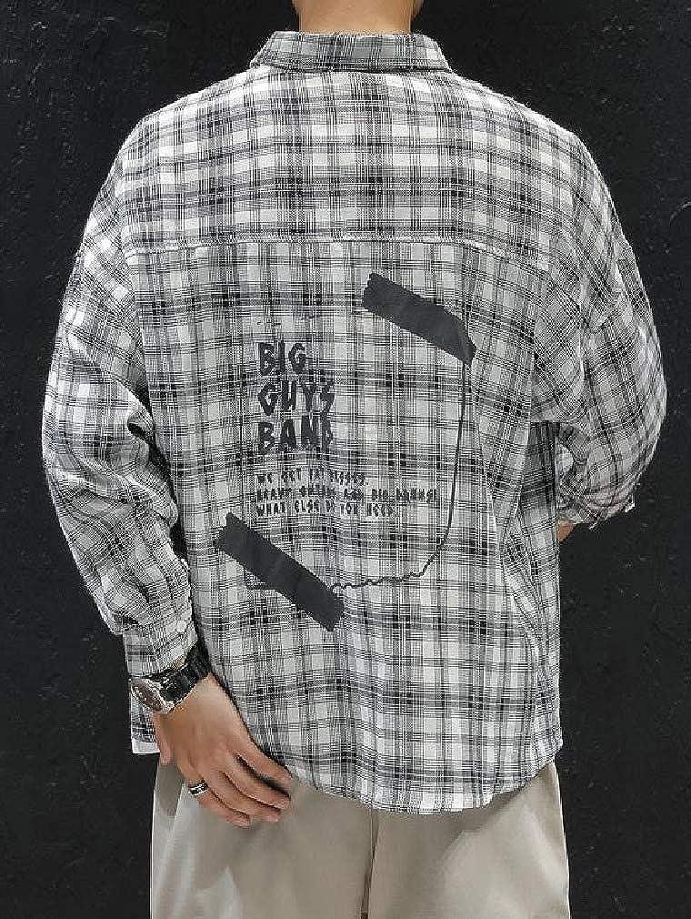 Fiere Mens Fashion Square Collor Plaid Pocket Autumn Long-Sleeve Longshirt