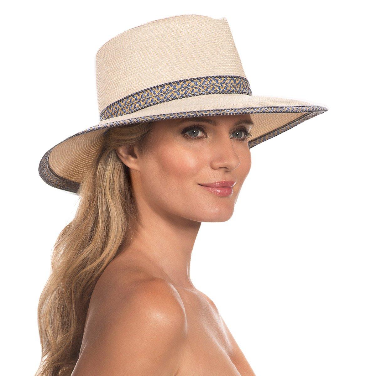 Eric Javits Luxury Fashion Designer Women's Headwear Hat - Georgia - Cream/Blue Tweed
