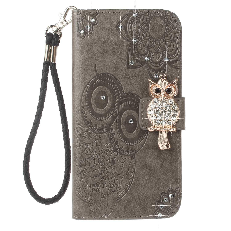 Coque Galaxy M30, Bear Village® Hibou Fermeture Magnétique Housse en Cuir, Antichoc PU Coque avec Slots de Carte pour Samsung Galaxy M30, Gris