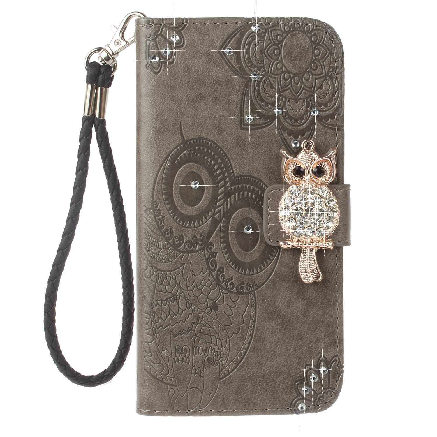 Bear Village OnePlus 5 Case, Leather Case with Wrist Strap and Credit Card Slot, Owl Magnetic Closure Shockproof Cover for OnePlus 5, Gray by Bear Village