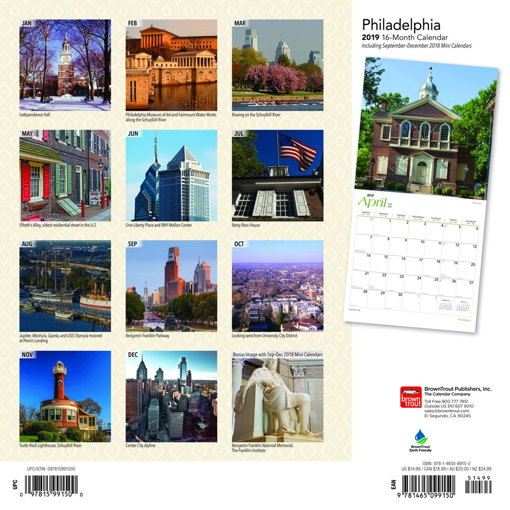 philadelphia 2018 12 x 12 inch monthly square wall calendar usa united state of america pennsylvania northeast city multilingual edition